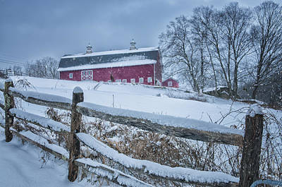 Carter Farm - Litchfield Hills Winter Scene Poster by Thomas Schoeller
