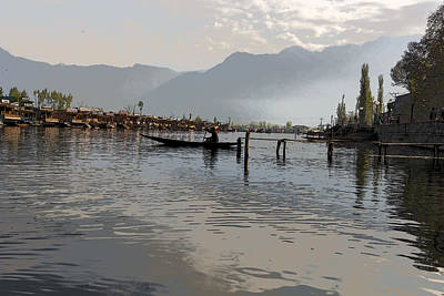 Cartoon - Boatman On A Small Wooden Boat Near The Shore Of The Dal Lake In Srinagar Poster by Ashish Agarwal