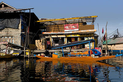 Cartoon - Floating Shop Shikara Along With Another Shop On Floats In The Dal Lake Poster by Ashish Agarwal