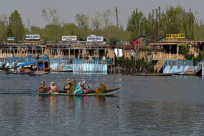 Cartoon - Ladies On 2 Wooden Boats On The Dal Lake With The Background Of Houseboats Poster by Ashish Agarwal