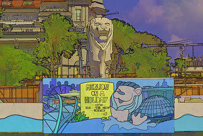 Cartoon - Statue Of The Merlion With A Banner Below The Statue Poster by Ashish Agarwal