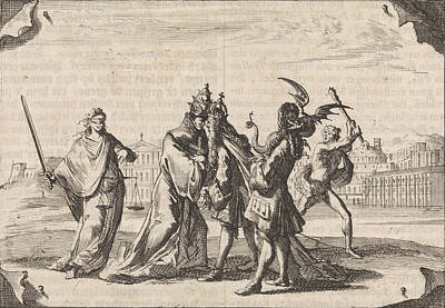 Cartoon About The Struggle Between Louis Xiv And Pope Poster by Caspar Luyken And Pieter Van Der Aa (i)