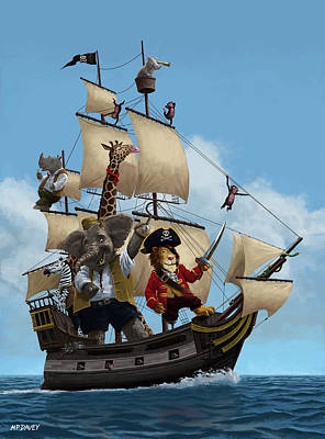 Cartoon Animal Pirate Ship Poster by Martin Davey