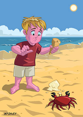 Cartoon Boy With Crab On Beach Poster by Martin Davey