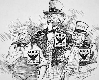 Cartoon Depicting The Impact Of Franklin D Roosevelt  Poster