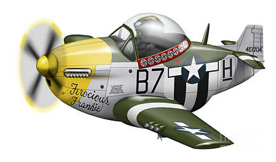 Cartoon Illustration Of A P-51 Mustang Poster