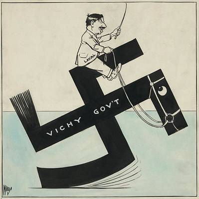 Cartoon Of French Leader Pierre Laval Poster