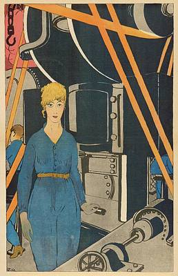 Cartoon Showing A French Woman Working Poster