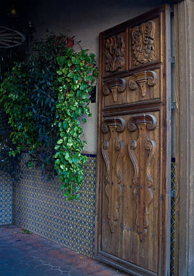 Carved Door And Plants 1 Poster by Douglas Barnett