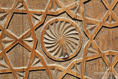 Carved Wooden Door Of The Chashma Ayab Mausoleum At Bukhara In Uzbekistan Poster by Robert Preston