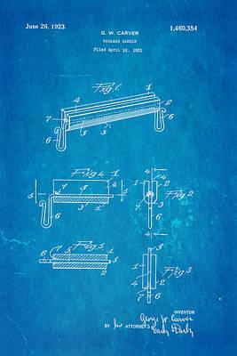 Carver Package Handle Patent Art 1923 Blueprint Poster