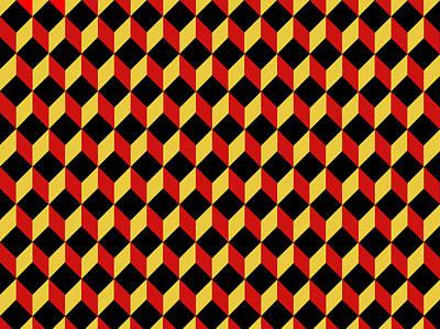 Casale Di San Basilio Mosaic Rome Dark Red And Black Poster by Asbjorn Lonvig