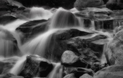 Cascades In Black And White Poster by Ellen Heaverlo