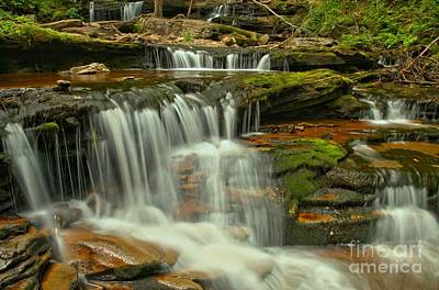 Cascading Everywhere At Ricketts Glen Poster by Adam Jewell