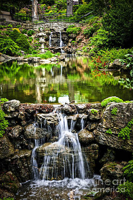 Cascading Waterfall And Pond Poster by Elena Elisseeva