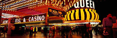 Casino Lit Up At Night, Four Queens Poster by Panoramic Images