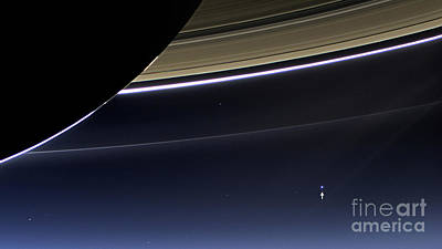 Cassini View Of Saturn And Earth Poster by Science Source