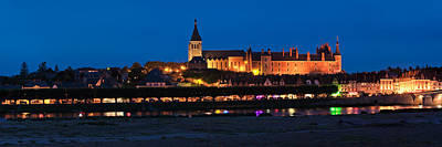 Castle And Loire Bridge Lit Poster by Panoramic Images