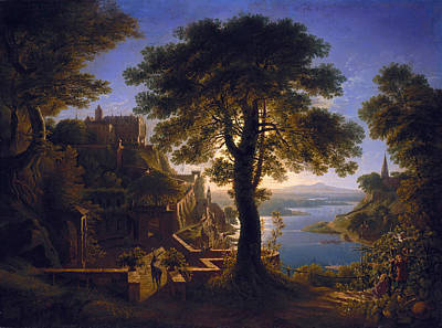 Castle By The River Poster by Karl Friedrich Schinkel