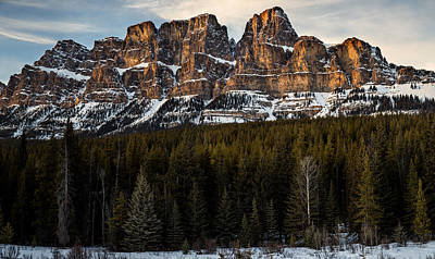 Castle Mountain At Sunset  Poster