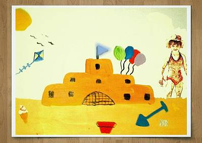 Castle On The Beach Poster by Julie Dunkley