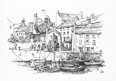 Poster featuring the drawing Castletown Harbour by Paul Davenport
