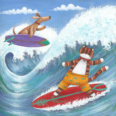 Cat And Dog Surfing Poster