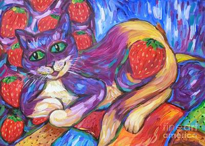 Poster featuring the painting Cat And Strawberries by Dianne  Connolly