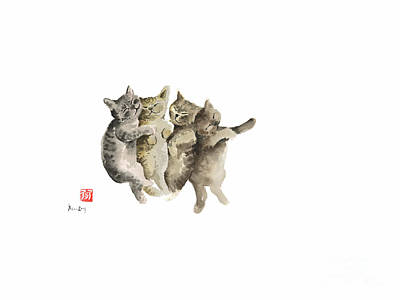Cat Cats Photo Picture Brown Gray Little Funny Pic Meow Watercolor Painting Poster