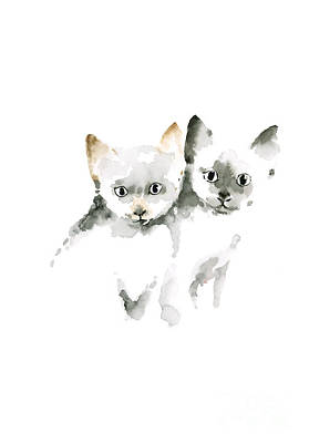 Cat Cats Photo Picture Brown Gray Little Funny Twins Pic Meow Watercolor Painting Poster