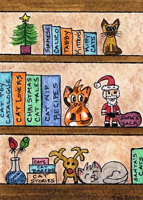 Cat Chrismas Shelves Poster