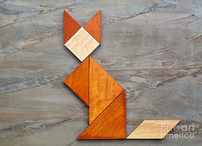 Cat Figure - Tangram Abstract Poster