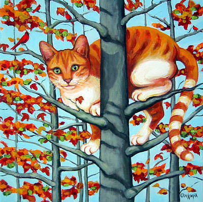 Orange Cat In Tree Autumn Fall Colors Poster by Rebecca Korpita