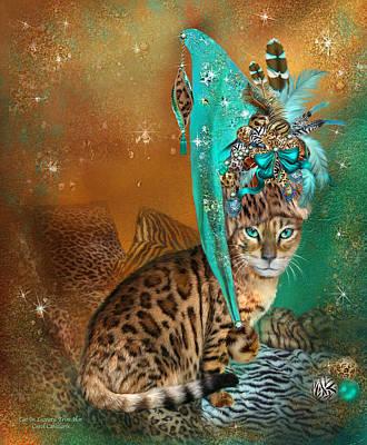 Cat In Leopard Trim Hat Poster by Carol Cavalaris