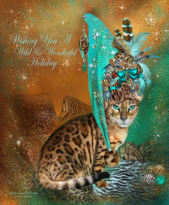 Cat In The Leopard Trim Santa Hat Poster