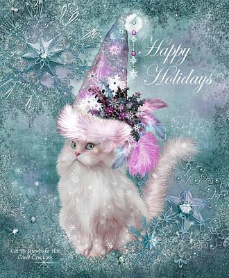 Cat In The Snowflake Santa Hat Poster by Carol Cavalaris