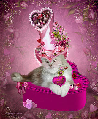 Cat In Valentine Candy Hat Poster by Carol Cavalaris