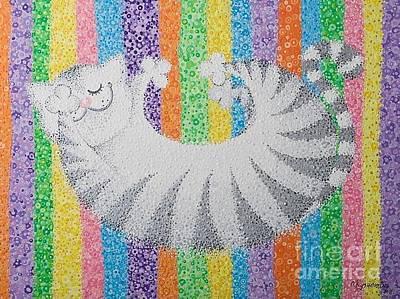 Cat On Rainbow Poster