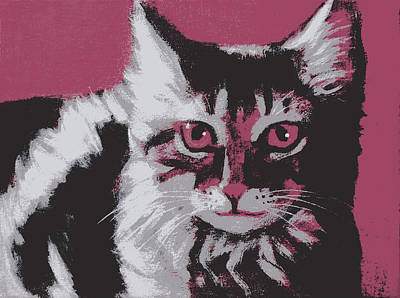 Cat On Red Poster by Kazumi Whitemoon