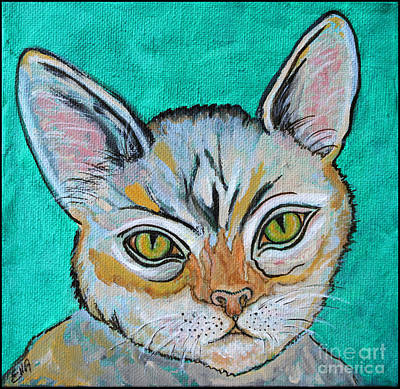 Cat Painting - Quick Silver Tabby Poster by Ella Kaye Dickey