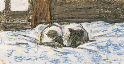 Cat Sleeping On A Bed Poster by Claude Monet