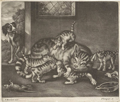 Cat With Five Kittens, Jan Griffier I, Pierce Tempest Poster
