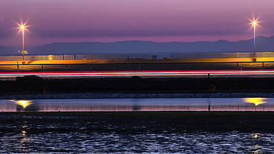 Catalina Bolsa Chica Pch Light Trails And The Wetlands By Denise Dube Poster