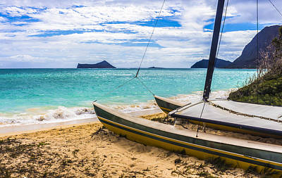 Catamaran On Waimanalo Beach Poster