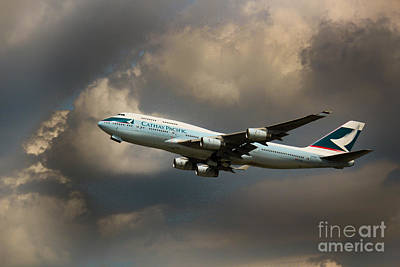Cathay Pacific B-747 Poster by Rene Triay Photography