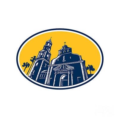 Cathedral Basilica Of St. Augustine Woodcut Retro Poster by Aloysius Patrimonio