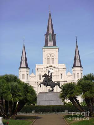 Poster featuring the photograph Cathedral In Jackson Square by Alys Caviness-Gober