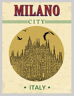 Cathedral Of Milano, Italy  In Vintage Poster