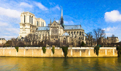 Cathedral Of Notre Dame De Paris On The Seine Poster by Mark E Tisdale