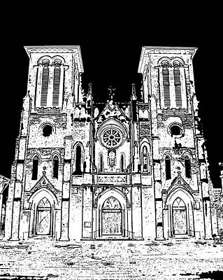 Cathedral Of San Fernando At Night In San Antonio Texas Black And White Stamp Digital Art Poster